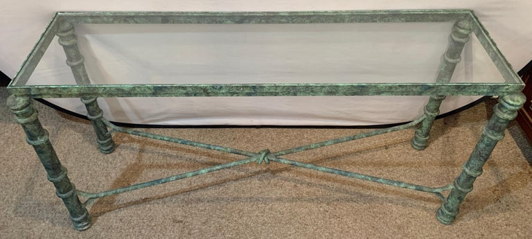 Modern Copper Paint Decorated Console Table For Sale