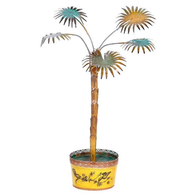 Copper Palm Tree In A Tole Planter For