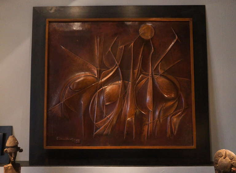 African copper panel artwork by Pemba. Congo.