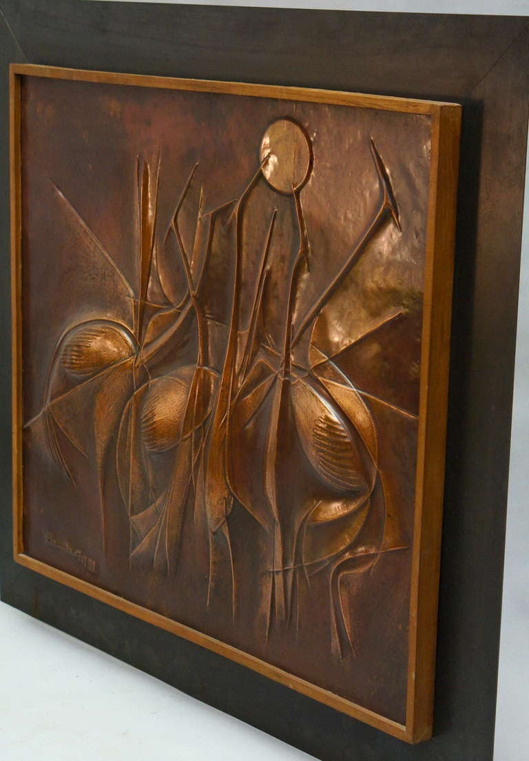 Hollywood Regency Copper Panel Artwork by Pemba For Sale
