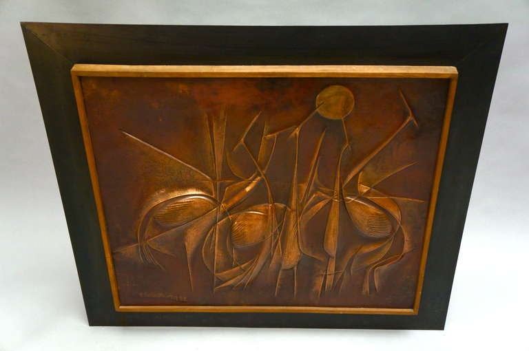 20th Century Copper Panel Artwork by Pemba For Sale