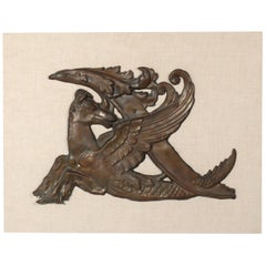 Copper Pegasus Architectural Fragment on Linen Wall Mount