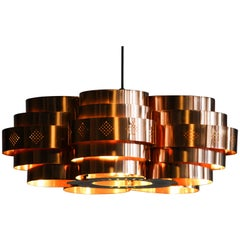 Copper Pendant Light  by Verner Schou for Coronell Elektro, 1960s
