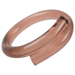 Copper Pink Lucite Coiled Bracelet Bangle