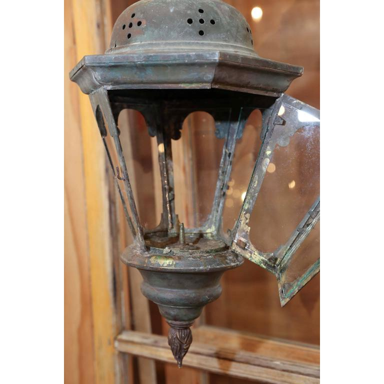 French Copper Processional Lantern For Sale
