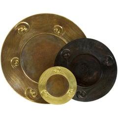 "Copper Repousse Plate 22"" Dia"