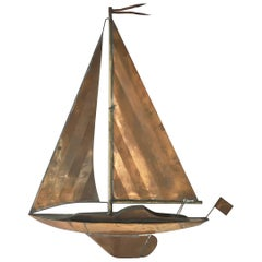 Copper Sailing Boat Wall Sculpture, 1960s