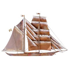 Copper Sailing Ship Sculpture