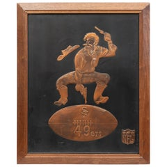 Copper San Francisco 49er's Sign with Embossed Image of the Their Early Logo