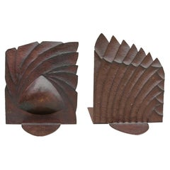 Copper Sculptural Art Deco Bookends Midcentury, France, 1930s