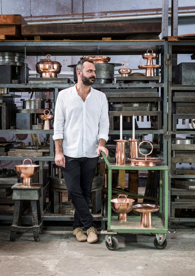 Copper Serviteur Muet by Brazilian Designer Brunno Jahara For Sale 1
