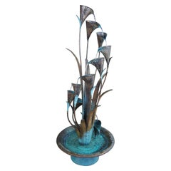 Copper Spiral Cascading Water Fountain Indoor Outdoor Sculpture Ornamental
