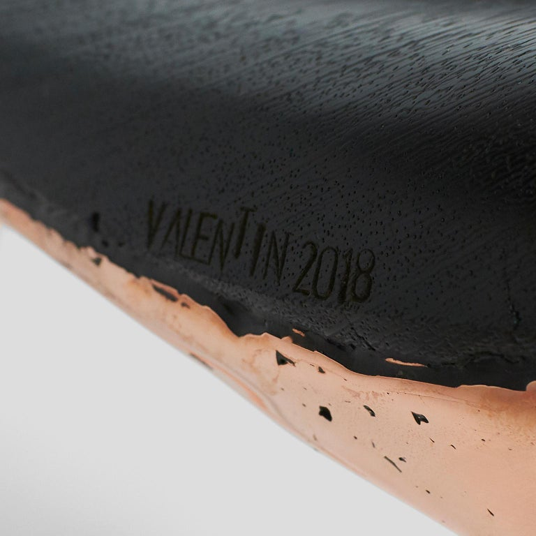 Organic Modern Copper Stool with Back by Valentin Loellmann For Sale