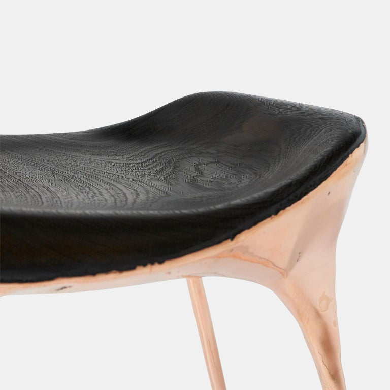 Dutch Copper Stool with Back by Valentin Loellmann For Sale