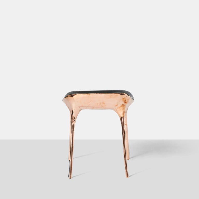 Copper Stool with Back by Valentin Loellmann In New Condition For Sale In San Francisco, CA