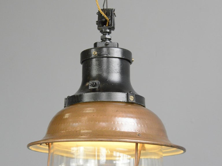 Industrial Copper Train Station Light by Industria Rotterdam, circa 1920s For Sale