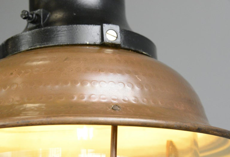 Copper Train Station Light by Industria Rotterdam, circa 1920s In Good Condition For Sale In Gloucester, GB