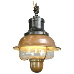 Copper Train Station Light by Industria Rotterdam, circa 1920s