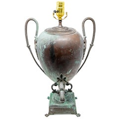 Copper Water Vessel Converted to Lamp, 19th Century