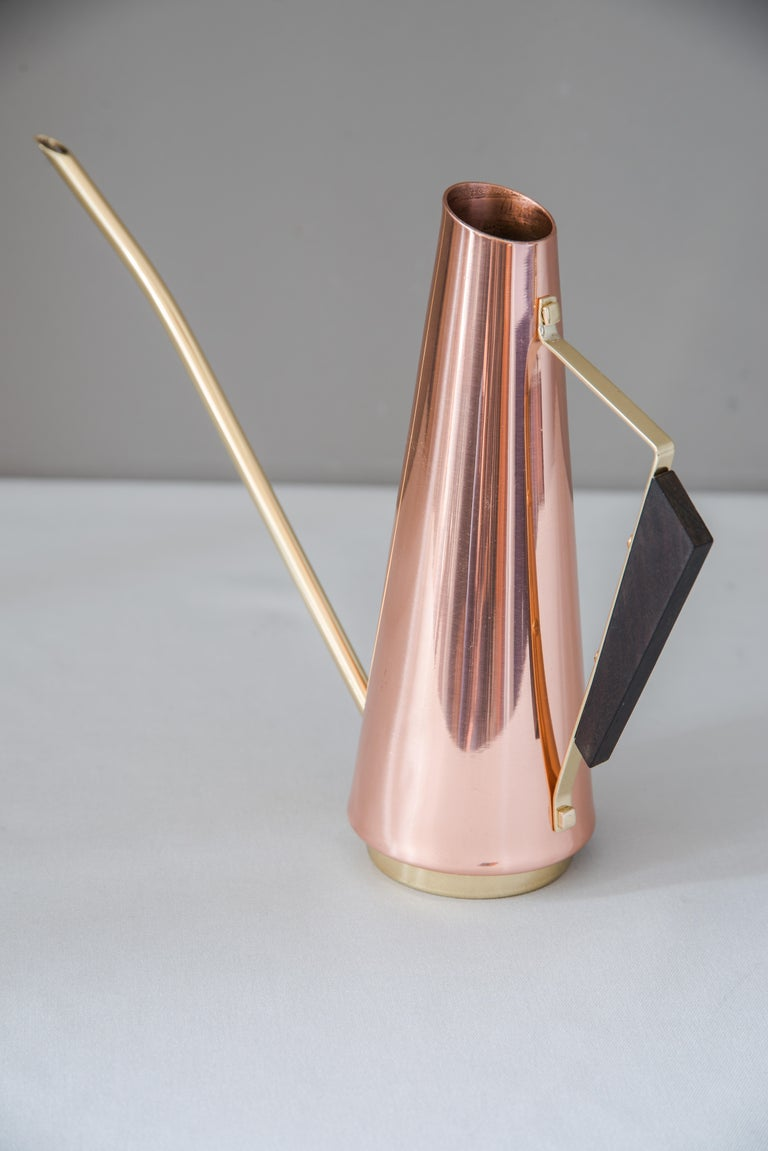 Mid-Century Modern Copper Watering Can with Wood Handle and Brass Parts, circa 1960s For Sale