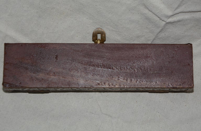 Copper, Brass and Wood Box with Mother of Pearl Handle Letter Opener In Good Condition For Sale In Cookeville, TN