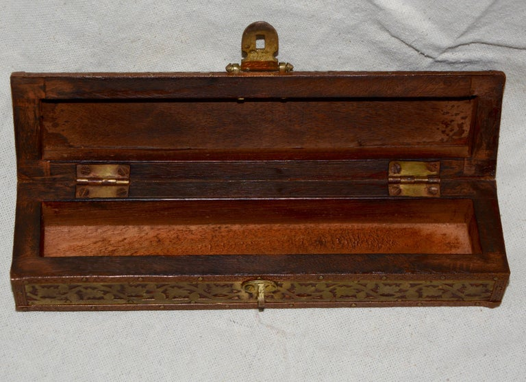 20th Century Copper, Brass and Wood Box with Mother of Pearl Handle Letter Opener For Sale
