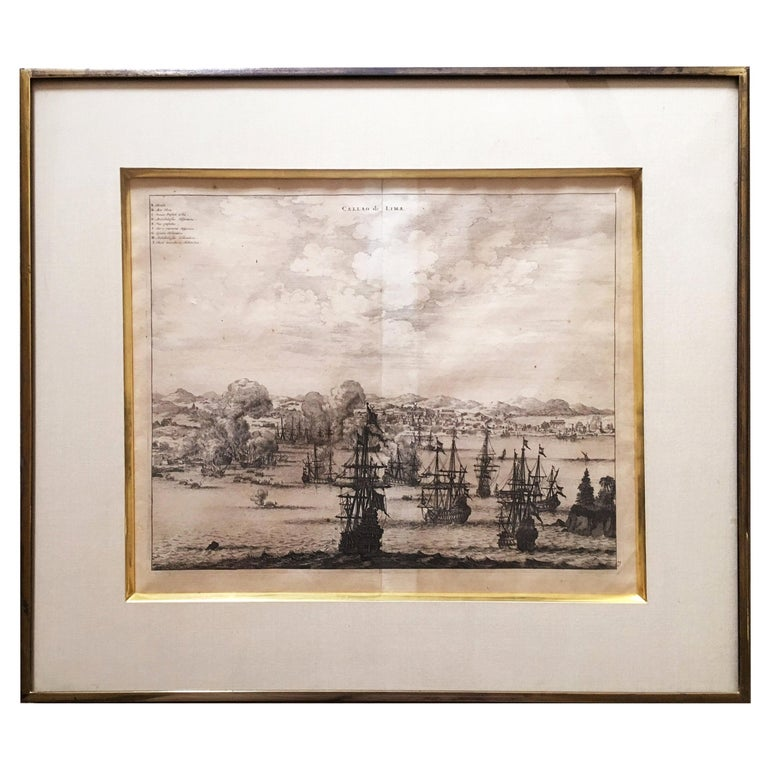 Copperplate Engraving of the Port of Lima from 1671 by Jacob van Meurs For Sale