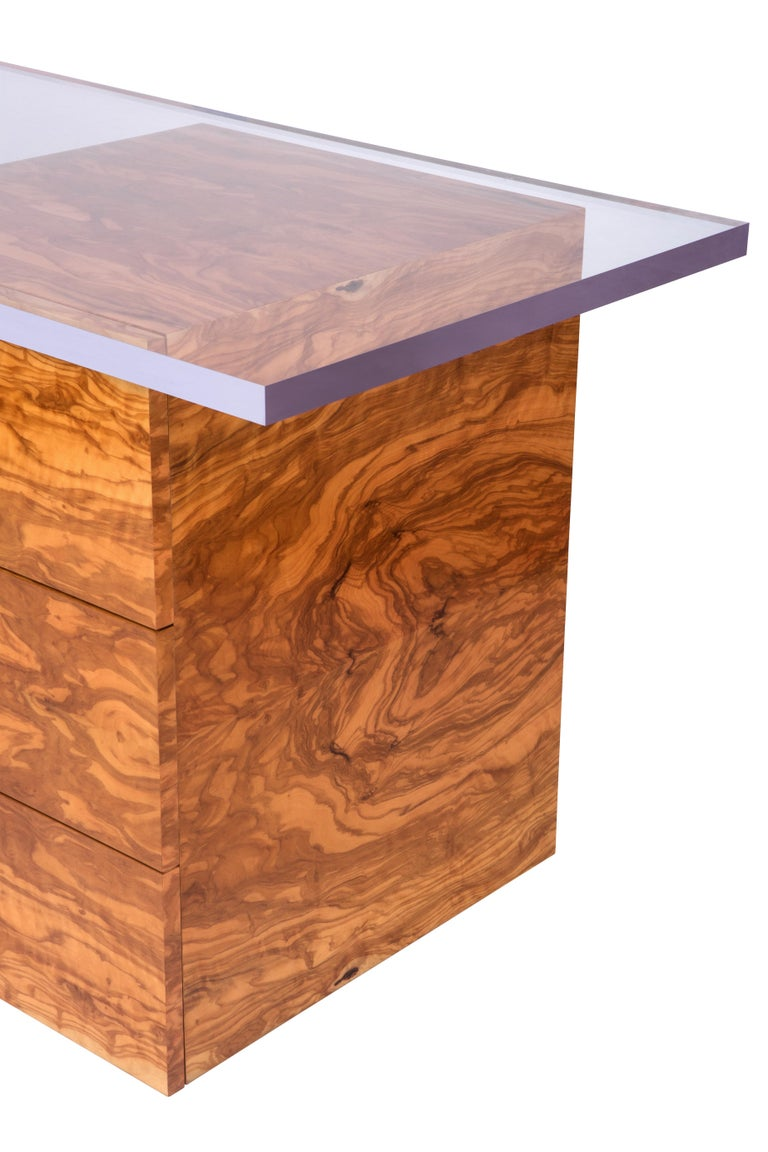 Portuguese Coppertone Desk in Copper Acrylic and Olive Wood by Cristina Jorge De Carvalho For Sale