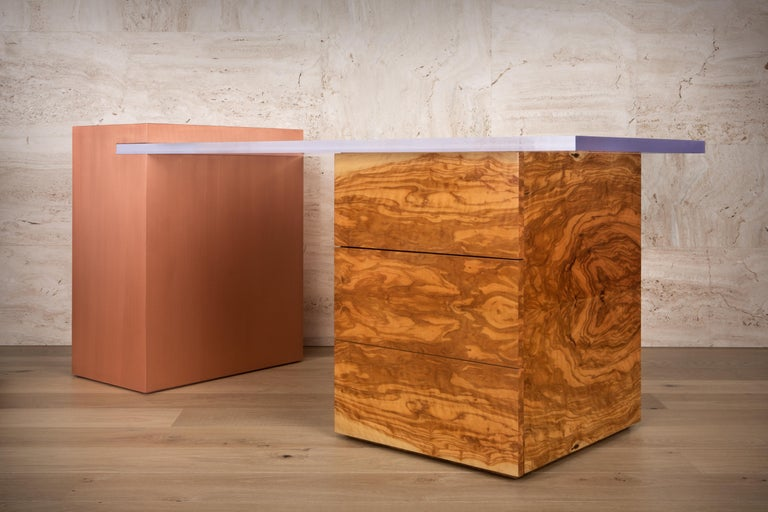 Coppertone Desk in Copper Acrylic and Olive Wood by Cristina Jorge De Carvalho In New Condition For Sale In Lisboa, PT
