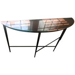 Coppery Steel Demilune Console with Optional Glass Top