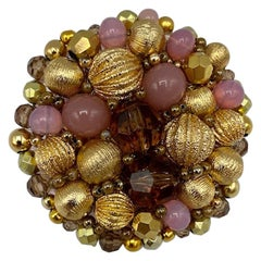 Coppola e Toppo 1960s Gold, Amber & Pink Bead Brooch