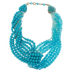 Coppola e Toppo Blue Crystal Drapery Necklace 1950s