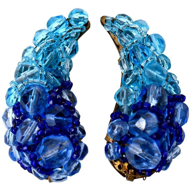 Coppola E Toppo Blue Venetian Glass Clip On Earrings Vintage For Sale