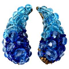 Coppola E Toppo Blue Venetian Glass Clip On Earrings Vintage