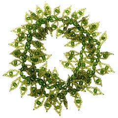 Coppola e Toppo Chartreuse Kelly Greens Beaded Wrap Necklace Italian Vintage