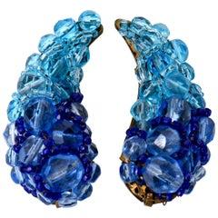 Coppola E Toppo Venetian Glass Clip On Earrings Vintage