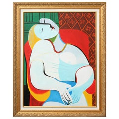 "Copy of ""The Dream"" Painting by Picasso, Red, Green and White, with a Gold Frame"