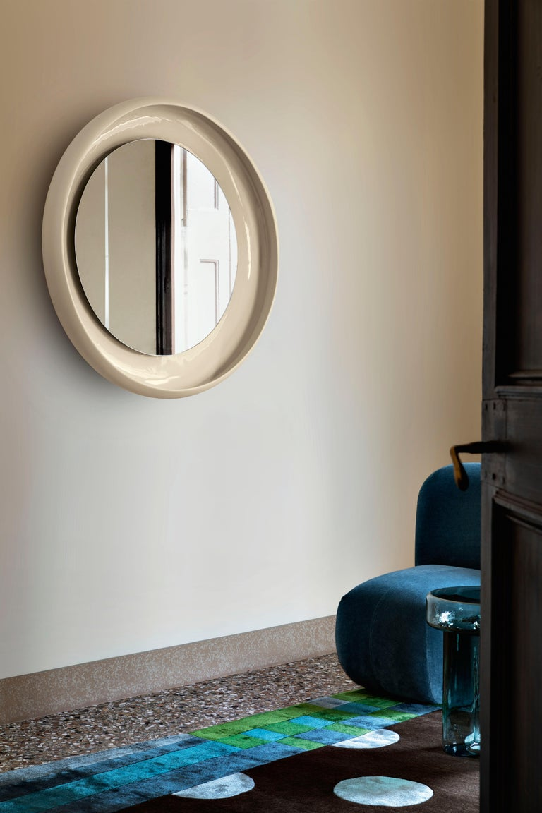 Modern Coque Large Mirror with Ceramic Frame in Peltro Glazed Ceramic by Alain Gilles For Sale