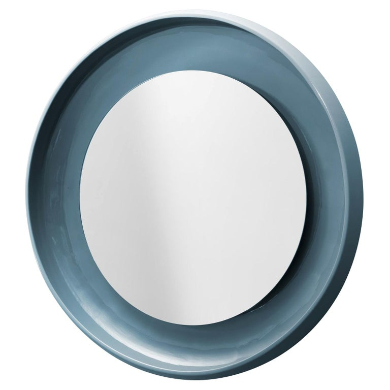 Coque Large Mirror with Ceramic Frame in Peltro Glazed Ceramic by Alain Gilles For Sale