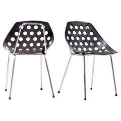 'Coquillage' Chairs in Black by Pierre Guariche