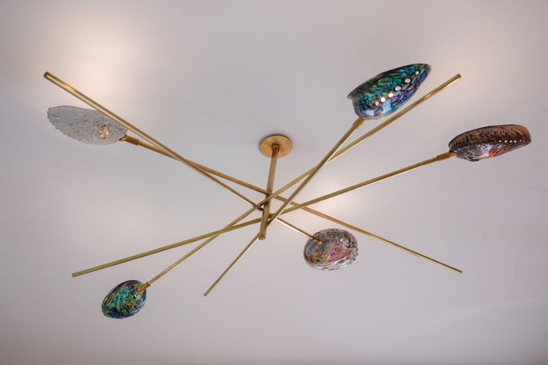Coquillage chandelier by Ludovic Clément d'Armont Materials: Brass, blown glass Dimensions: diameter 120 x height 40   Every creation of Ludovic Clément d'Armont can be made to order in any requested dimensions. Please contact us for custom made