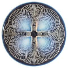 Coquilles No.2, a Blue Opalescent Glass Plate by René Lalique