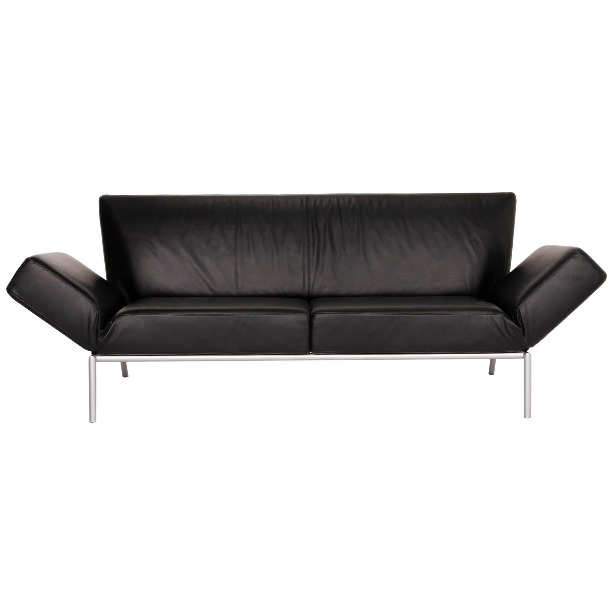 COR Attendo Leather Sofa Black Three-Seater Function Couch