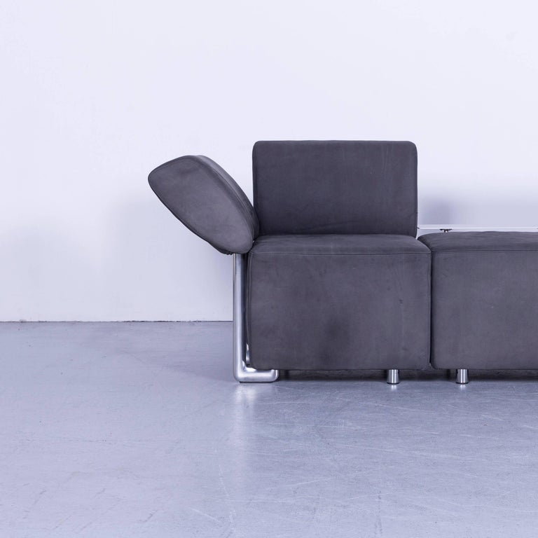 German COR Clou Leather Sofa Grey Three-Seat