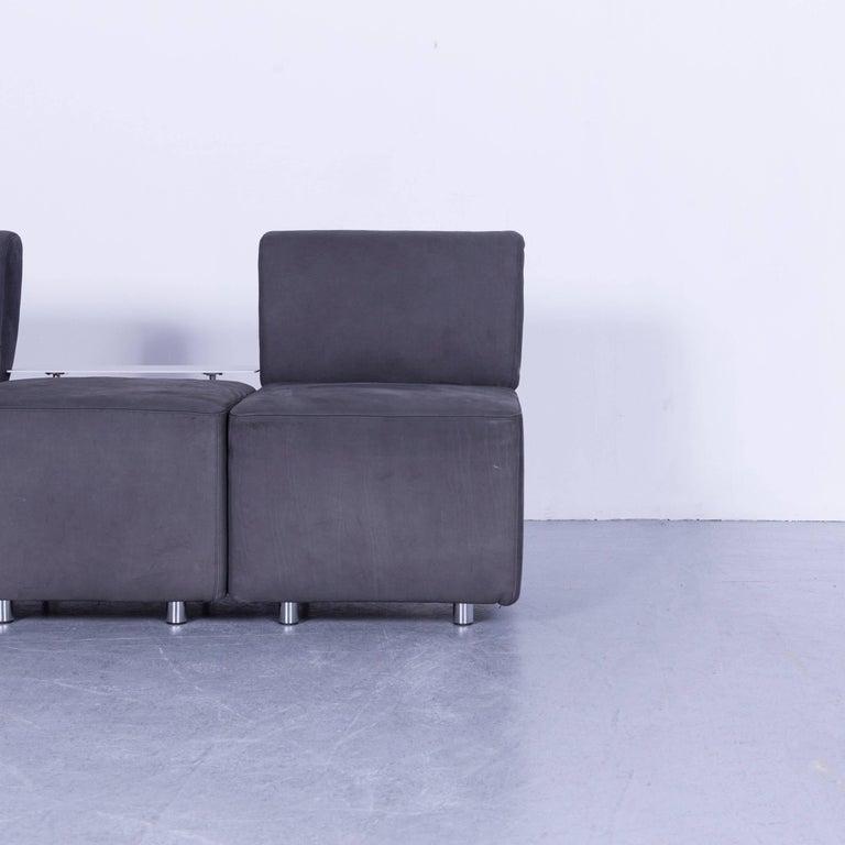 COR Clou Leather Sofa Grey Three-Seat In Good Condition In Cologne, DE
