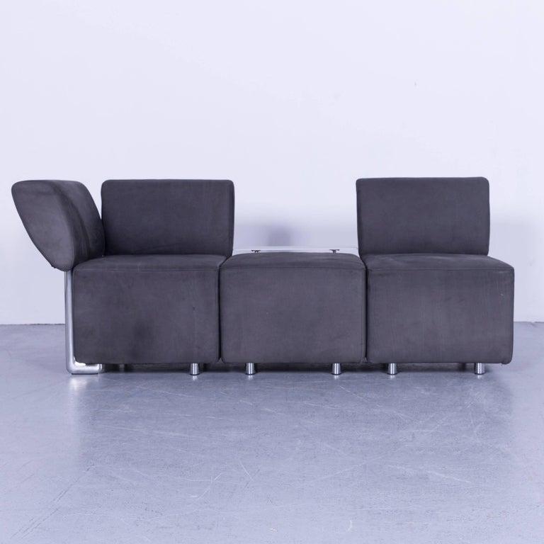 Contemporary COR Clou Leather Sofa Grey Three-Seat