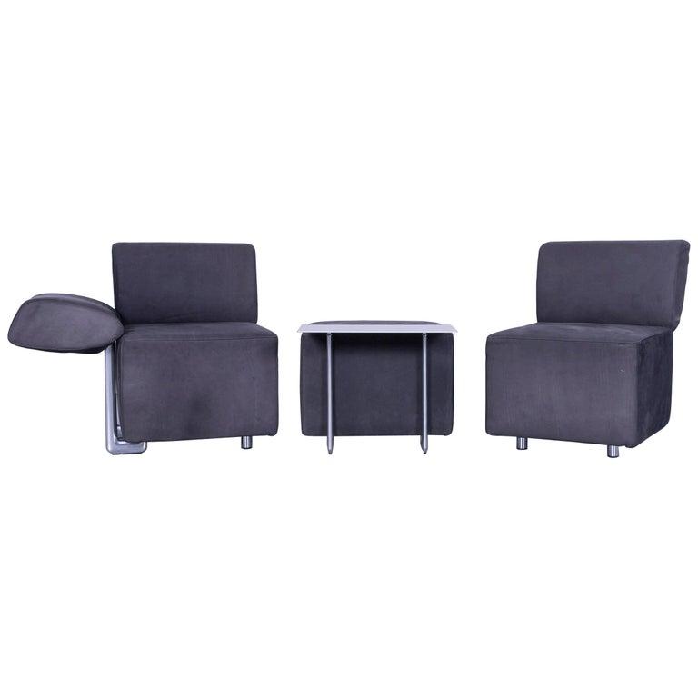 COR Clou Leather Sofa Grey Three-Seat