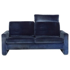 COR Conseta Fabric Sofa Blue Two-Seat Function Couch