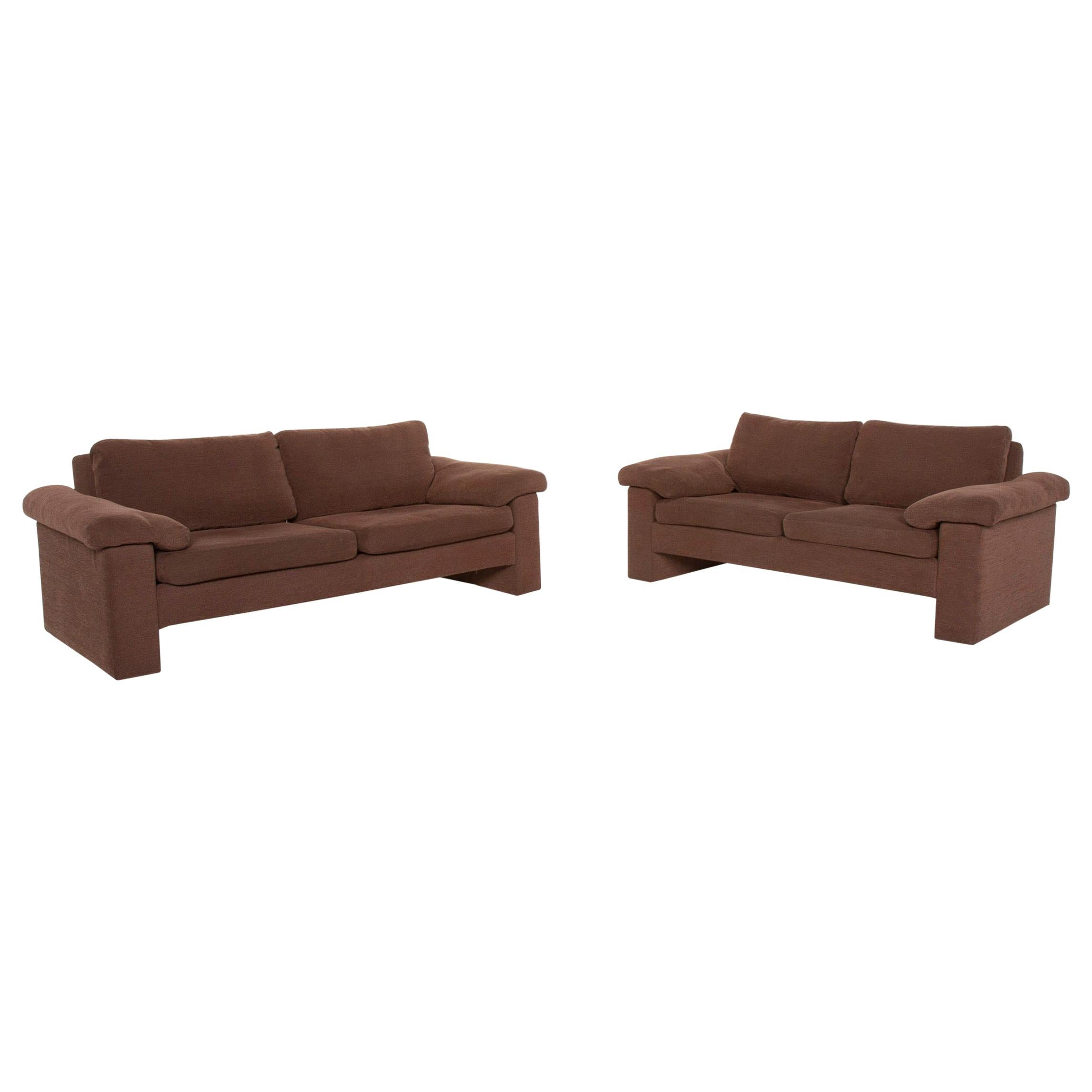 COR Conseta Fabric Sofa Set Brown Three-Seater Two-Seater