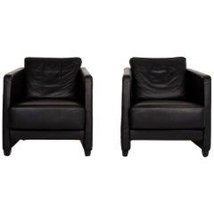 COR Conseta Leather Armchair Set Black